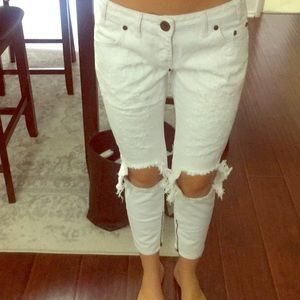 One Teaspoon low-rise white ripped jeans